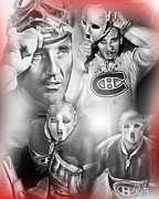 Goalie Framed Prints - Jacques Plante Framed Print by Mike Oulton