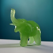 Mammals Glass Art Posters - Jade Elephant Poster by Tom Druin