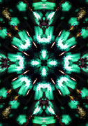 Radiating Light Digital Art - Jade Reflections - 4 by Shawna  Rowe