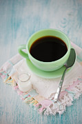 Kerchief Prints - Jadite Coffee Cup Print by Kay Pickens
