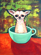 Chihuahua Colorful Art Prints - Jadite Fireking Teacup Chihuahua Print by Rebecca Korpita