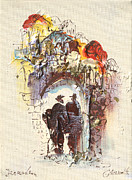 Religious Art Painting Prints - Jaffa Gate of Jerusalem Print by Arnold Goldberg
