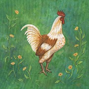 Animal Paintings - Jagger the Rooster by Linda Mears