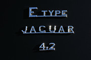 E Black Framed Prints - Jaguar E Type 4.2 logo Framed Print by George Atsametakis