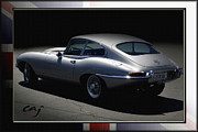 Collector Cars Digital Art Posters - Jaguar E-Type by Moonlight Poster by Curt Johnson