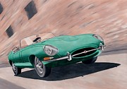 Jaguar E Type Classic Car Paintings - Jaguar E Type by Milan Surkala