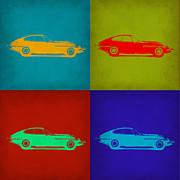 Jaguar E Type Classic Car Framed Prints - Jaguar E Type Pop Art 1 Framed Print by Irina  March
