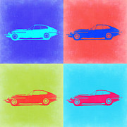 Old Mixed Media Metal Prints - Jaguar E Type Pop Art 2 Metal Print by Irina  March