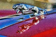 Vintage Hood Ornament Painting Prints - Jaguar V12 badge Print by George Atsametakis