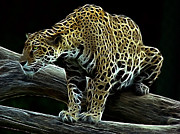 Fractalius Digital Art Framed Prints - Jaguar Watching Framed Print by Sandy Keeton