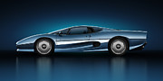 Automobiles Digital Art Framed Prints - Jaguar XJ220 - Azure Framed Print by Marc Orphanos