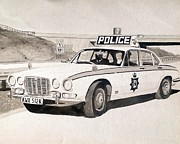 Cop Paintings - Jaguar XJ6 Cop Car by Sid Fox