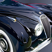 Production Digital Art Posters - Jaguar XK 120SE R Detail Poster by Alain Jamar