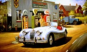 Retro Paintings - Jaguar XK 140 by Mike  Jeffries