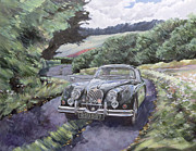 Green Day Painting Posters - Jaguar XK150 Cruising Poster by Clive Metcalfe