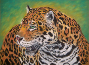 Wild Animal Pastels Posters - Jaguar Poster by Yvonne Johnstone