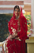 Brides Dress Framed Prints - Jaipur Royal Bride - Rajasthan India Framed Print by Craig Lovell