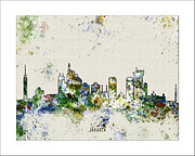 Boston Skyline Paintings - Jakarta skyline by WaterColorMaps Chris and Mary Ann