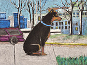 Universities Pastels Prints - Jake the Dog on Campus Print by Reb Frost