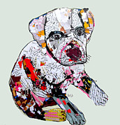 Pitbull Mixed Media Posters - Jake The Pitbull Poster by Brian Buckley