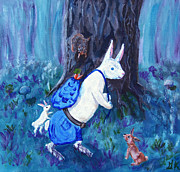 Illustration Painting Originals - Jakes Return - Bunny Tales #3 by Gloria Koch