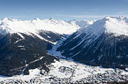 Winter Prints - JAKOBSHORN DAVOS town and mountains Print by Andy Smy