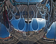 Samuel Sheats Metal Prints - Jalopy Hood Reflections Metal Print by Samuel Sheats