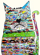 Cat Portraits Mixed Media Prints - Jam  Print by Brian Buckley