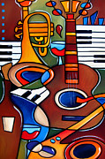 Abstract Music Drawings Framed Prints - Jam Session by Fidostudio Framed Print by Tom Fedro - Fidostudio