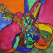 Instrument Drawings Originals - Jam Session by Gitta Brewster