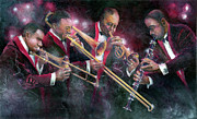 Trombone Painting Originals - Jam session by Jim Bates