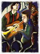 Elvis Pastels Framed Prints - Jam Session Framed Print by Ted Azriel