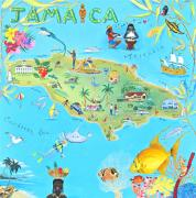 Map Of The World Painting Posters - Jamaica Poster by Virginia Ann Hemingson