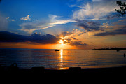 Caribbean Pyrography Prints - Jamaican Sunset Rays 1 by Steve Ellenburg Print by Steve Ellenburg