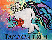 Cubist Digital Art Framed Prints - Jamaican Tooth Framed Print by Anthony Falbo