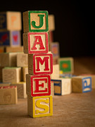 Wooden Blocks Framed Prints - JAMES - Alphabet Blocks Framed Print by Edward Fielding