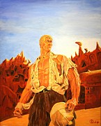 Bama Paintings - James Bamas the man of bronze by Robert Link