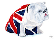 James Bond Paintings - James Bond 007 Skyfall English Bulldog by Carlo Ghirardelli
