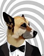 Dog Framed Prints Digital Art Framed Prints - James Bond Dog Framed Print by Kelly McLaughlan