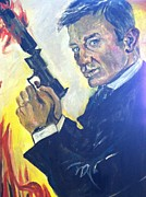 James Bond Paintings - James Bond by Melissa Feinberg