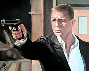 James Bond Paintings - James Bond by Tom Carlton
