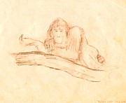 Primate Drawings - James D. Orang by Vince Vonfrese