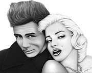Graphite Drawings Drawings Posters - James Dean and Marilyn Monroe Poster by Charles Champin