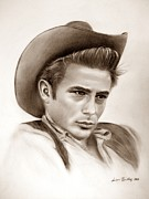 James Dean Drawings - James Dean by Andrea Binkley