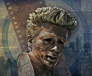 Statue Portrait Mixed Media Prints - James Dean Print by Bedros Awak