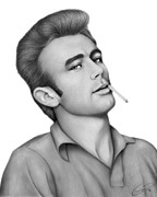 Graphite Drawings Drawings Posters - James Dean Poster by Charles Champin