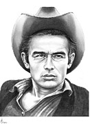 James Dean Drawings - James Dean by Murphy Elliott