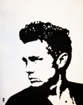 Black And White Hand Print Posters - James Dean Poster by Venus