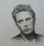 James Dean Drawings Posters - James Poster by E White