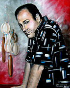 Soprano Framed Prints - James Gandolfini as Tony Soprano Framed Print by Patrice Torrillo